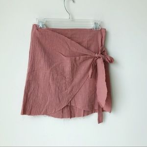 NWT LF Dusty Rose Wrap Tie Skirt in Pink